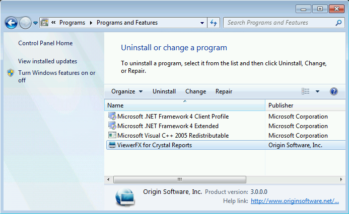 Uninstall ViewerFX® for Crystal Reports